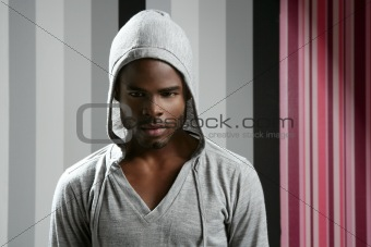 African american man with gray hood
