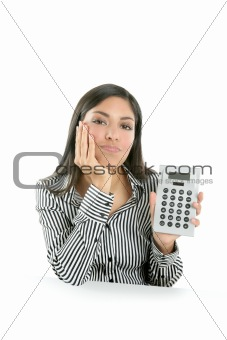 Beautiful brunette businesswoman sad about stats