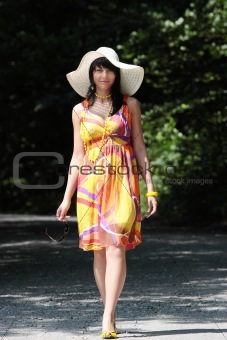 A beautiful girl wearing summer dres