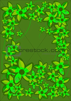 Green Flowers Frame. Vector Illustration.