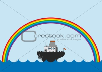 background with the rainbow and little steamboat