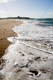 beautiful beach with big waves