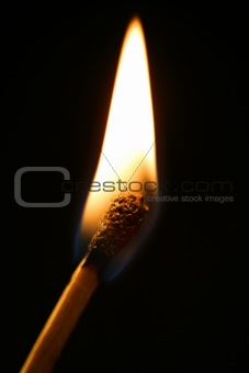 One match in flame over black background