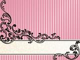Romantic French retro banner in pink