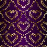 Gold-on-Purple seamless sari pattern with hearts