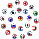 illustration of a set of WM soccer buttons