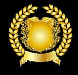 golden heraldic shield laurel wreath