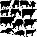 Cow Set Silhouettes