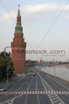 Tower Moscow Kremlin and road
