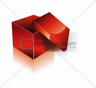 3D Open Red Shipping Box