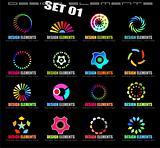 Abstract Design Elements - Set 1 on Black