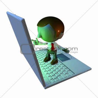 3d business man character standing on laptop