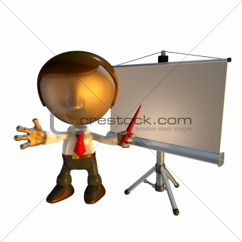 3d business man character with presentation equipment