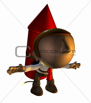 3d business man character with rocket pack