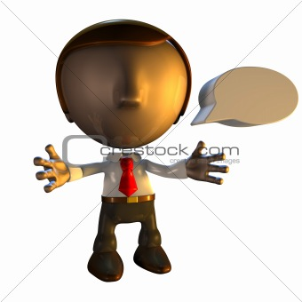 3d business man character with speech bubble