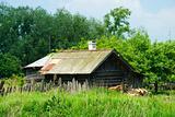 Russian village wooden bath-house