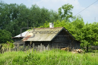 Russian village wooden bath-house