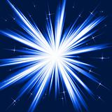 Blue light, star burst, stylised fireworks
