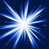 Blue light, star burst, stylised fireworks
