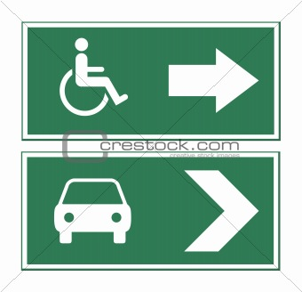 Car and disabled sign