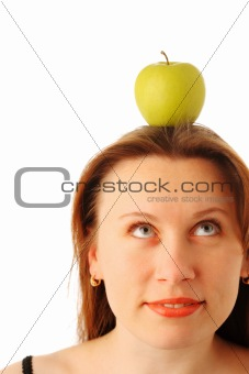 Apple on the woman's head