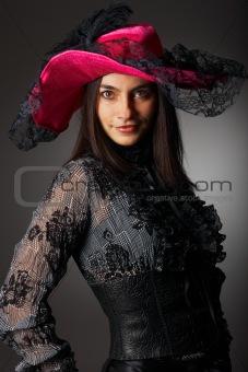 Beautiful woman in pink hat