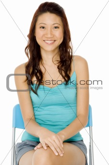 Asian Woman In Blue