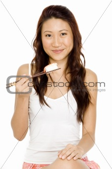 Asian Girl Eating Sushi
