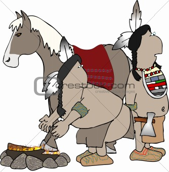 American Indians and a horse