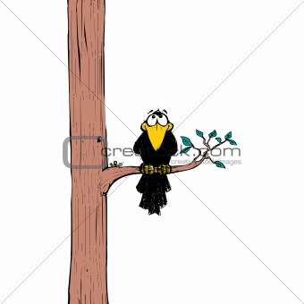Crow sitting on a tree