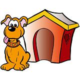 Dog with house