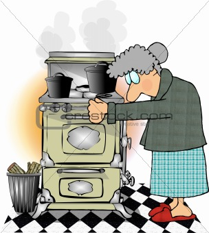 Old lady cooking on an old stove.
