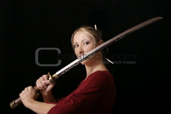 Female with a samurai sword