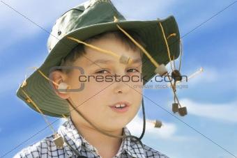 Boy in cork hat