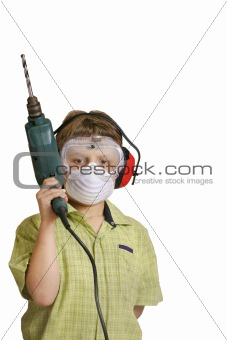 Boy with power drill