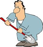 Man with a shovel