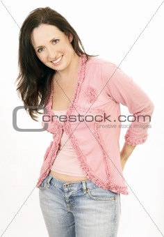 Portrait of lady in pink 6 wearing jeans