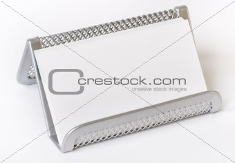 Business card on a mesh holder