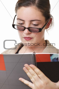 Business lady reading report