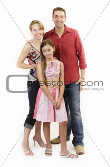 Mom, dad and daughter portrait, happy family