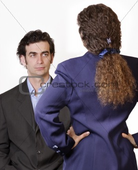 Businessman-woman confrontation