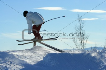 Skier riding a rail