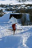 Skier sliding a rail