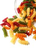 Tricolor pasta on white