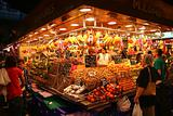 fruit market at night