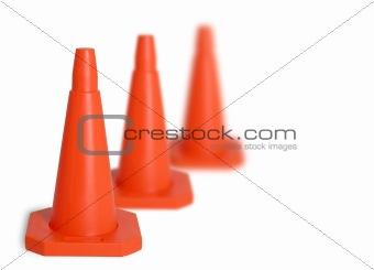 Three traffic cones
