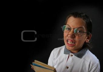 Angry student boy