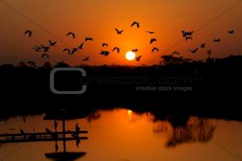 fishermen and herons