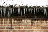 Icicles hanging on roofedge