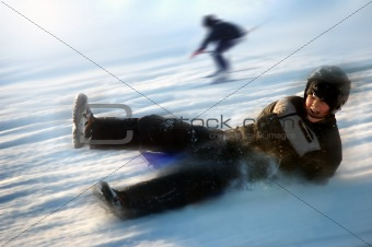 Boy on sled